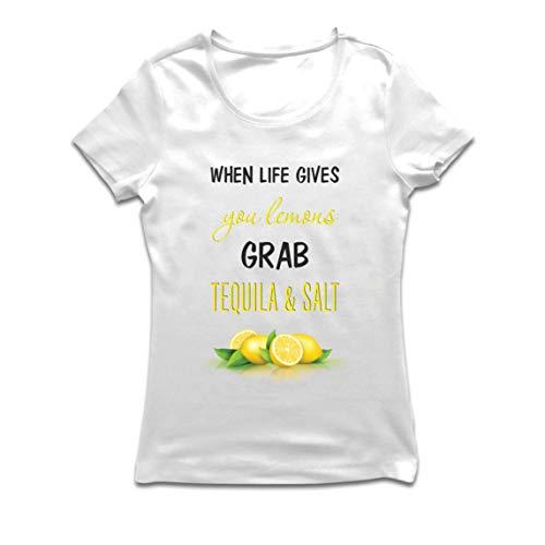 lepni.me Camiseta Mujer Cuando la Vida te da Limones coge el Tequila y Cita la Sal (XL Blanco Multicolor)