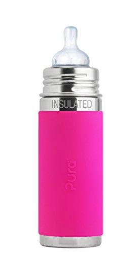 Pura Kiki Babyflasche mit Sauger Isolierflasche, Edelstahl mit Silikonhülle Sleeve, 250 ml, plastikfrei Rosa