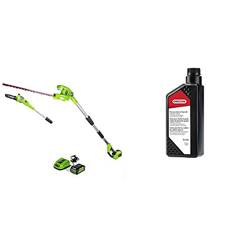Greenworks PSPH40B210 8 Inch 40V Cordless Pole Saw with Hedge Trimmer Attachment 2.0Ah Battery and Charger Included & Oregon 54-026 Chainsaw Bar and Chain Oil, 1 Qt