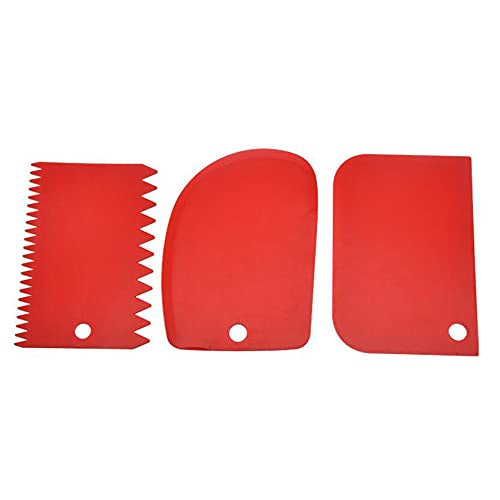 3PCS/Lot Cream Scraper Smoother DIY Cake Decorating Fondant Pastry Cutters Baking Spatulas Kitchen Tools-Red