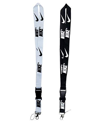 Key Lanyard for Men, 2 Pack Breakaway Black Silver Keychain Lanyard Sport Badge ID Holder Phone Wallet Whistle Lanyard for Kids Women
