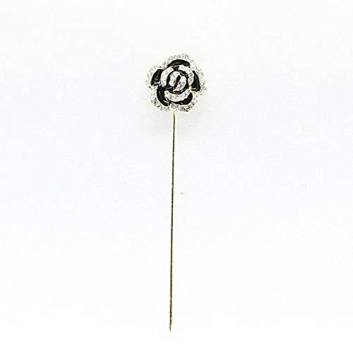 Ludage Exquisito Broches para Ropa Mujer Moda Negro Gota Aceite Rosas una Palabra Longitud Aguja Broche Pin Broche Broche Mujer