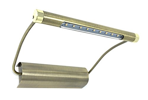 LED Design Bilderleuchte Messing - Farbe Batteriebetrieb - kabellose Wandleuchte Bildbeleuchtung