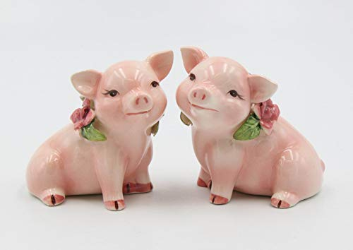 Cosmos Gifts 96242 Fine Ceramic Pink Pig Couple Piggy with Pink Rose Salt and Pepper, 2 7 8 H
