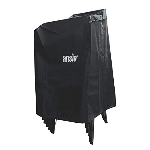 ANSIO Patio Stacking Chair Cover with Air Vent Waterproof, Wind proof, Rip Proof, Dust Proof, Anti-UV Oxford Fabric Outdoor Furniture Covers (Garden Chair Cover - 91 x 63 x 119cm)