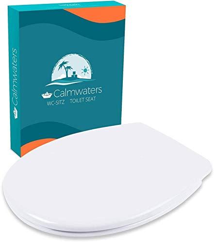 Calmwaters® WC Sitz Premium Toilettendeckel, Made in EU, antibakteriell mit Absenkautomatik, abnehmbar, O-Form Toilettensitz, Edelstahl-Befestigung, Duroplast WC Deckel & Klo Brille klassisch oval