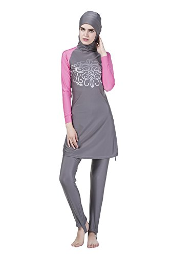 GladThink Damen Muslim Bescheiden Badeanzug islamisch Vollständige Abdeckung Bademode Zwei Stück Grau M