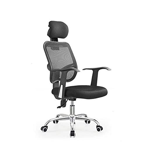 DJDLLZY Silla de oficina ergonómica, silla de escritorio, soporte lumbar, silla de malla para computadora con brazos, color negro