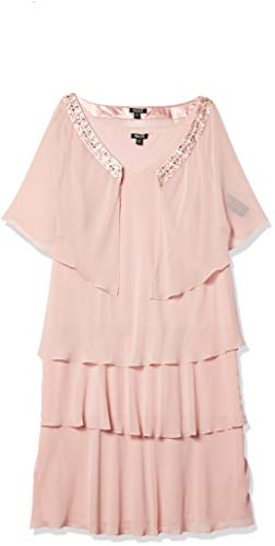 S.L. Fashions Women's Size V-Neck Jewel Trimmed Jacket with Multi Tiered Dress Plus, Faded Rose, 18W (Apparel)