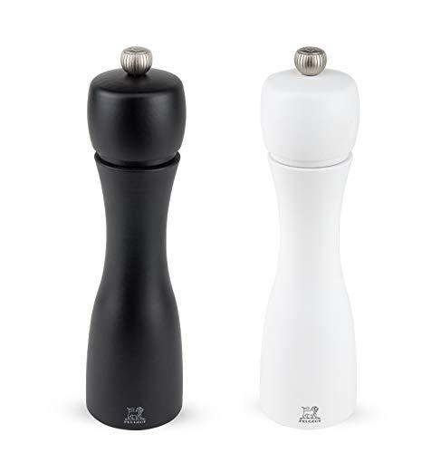 Peugeot TAHITI DUO matt weiß & schwarz-20 cm Pfeffer-und Salzmühlenset, Holz, Weiß/Schwarz