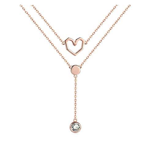 HMMJ Collar de Mujer, S925 Sterling Silver Rose Gold Chapado Doble Colgante Pendiente Cadena de clavícula