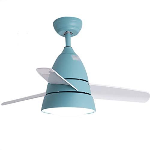 JYHW Ventilador de Techo Atenuación de la luz Reversible Habitación para niños Restaurante Dormitorio Minimalista Moderno Inicio Araña (Color : Dimming, Size : Blue)