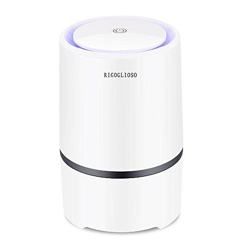 RIGOGLIOSO Luftreiniger für zu Hause mit echten HEPA-Filtern, geräuscharm, tragbarer Luftreiniger mit Nachtlicht, USB-Ventilator
