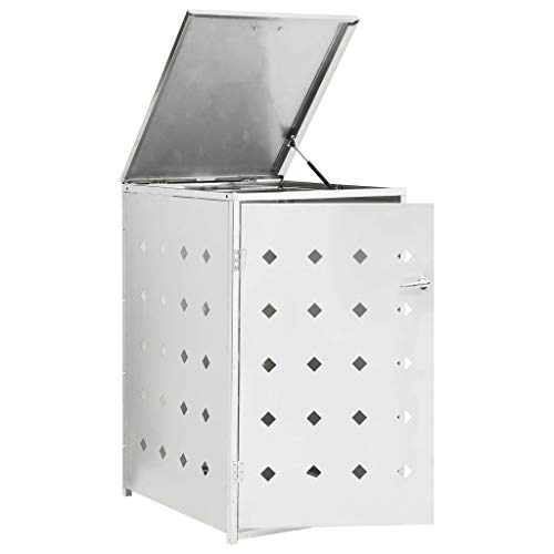 Tidyard Mülltonnenbox Edelstahl für 1 Tonnen 240 L, mit Verriegelungssystem, Metall Mülltonnenabdeckung Mülltonnenverkleidung Gartenbox, Silbern