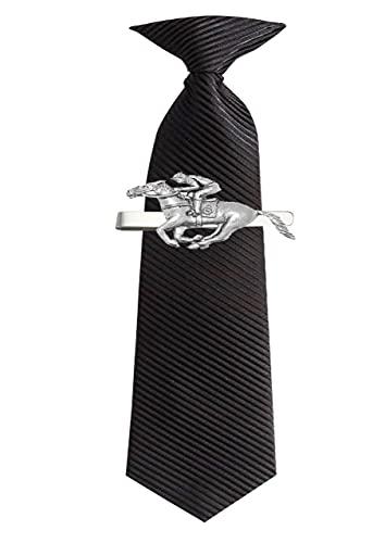 Race Horse & Jockey PP-E20 Emblema de peltre inglés ecuestre en un clip de corbata, 4 cm de largo