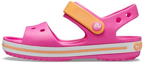 crocs Unisex-Kinder Crocband Kids Outdoor Sandals, Rosa(Electric Rosa/Cantaloupe), C8 (24/25EU)