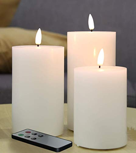 Eywamage Set of 3 Flameless Pillar Candles Battery Operated D 3' H 4' 5' 6', Flat Top Flickering Electric LED Candles with Remote, Real Wax Unscented White Color