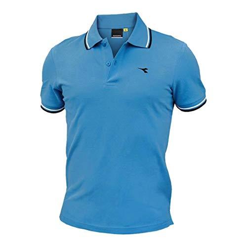 Diadora SS Polo Striped Ooc Hombre Piqué Algodón Camiseta Regular 102.177175 Sky-blue Diva XXL