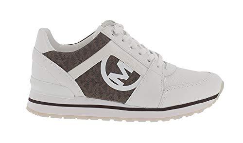 Michael Kors Zapatillas Deportivas para Mujer Billie Trainer con Logos Modelo 43S1BIFS1B Color Blanco/Marron (272 OpWhite/Brown). (Numeric_36_Point_5)