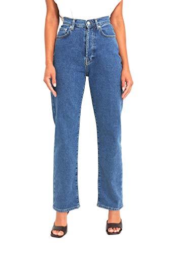 NA-KD Damen Straight High Waist Jeans, mittelblau