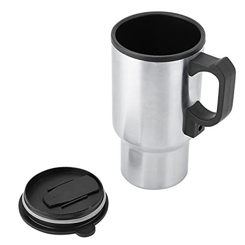Liujaos Taza calefactora de Coche, Taza eléctrica de Acero Inoxidable, para portavasos de vehículo de café Caliente, Camping, hervir Agua, Viaje
