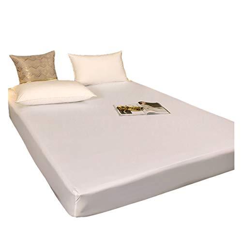 HOMFLOW Impermeable Protectores De Colchón Agradable para La Piel Funda De Colchón Suave Respirable Comodidad para Dormir Protección contra La Humedad (Color : White, Size : 100x200+30cm)