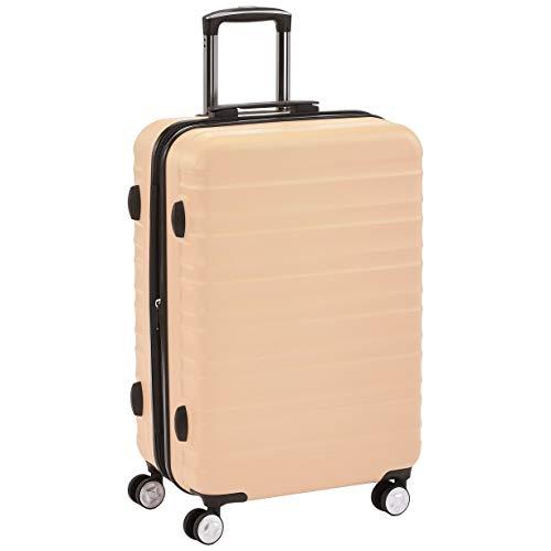 AmazonBasics Premium Hardside Spinner Suitcase Luggage with Wheels - 24-Inch, Pink