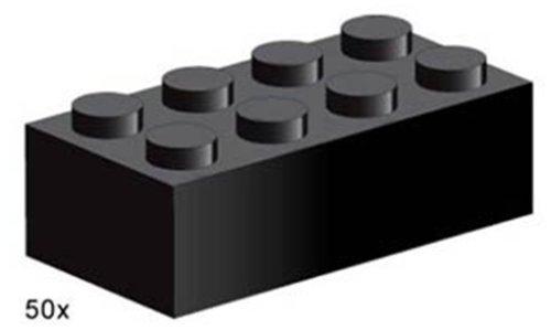 Lego Service 3458 - Steine, schwarz, 2x4 Noppen, 50 Stück