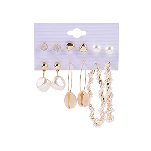 1 pieza para mujer, pendientes de aro con perla y perlas de flores, pequeños pendientes