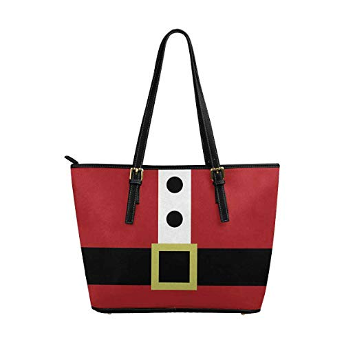 InterestPrint Funny Christmas Santa Clause Coat with Belt Leather Tote Shoulder Bags Handbags for Women