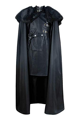 CosplayNow Game of Thrones Cosplay Jon Snow Costume Black Cloak Vest Robe Outfit S