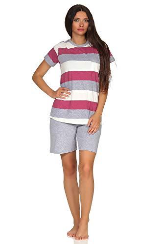 NORMANN-Wäschefabrik Damen Shorty Pyjama Kurzarm in wunderschöner Block Streifen Optik - auch in Übergrössen, Farbe:Beere, Größe2:48/50
