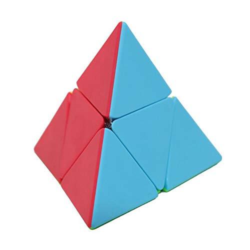 OJIN MO Fang GE Pyraminx 2x2 Cubo sin Adhesivo MoFangGe Pyramid 2x2 Triángulo Cuatro Ejes Tetraedro Velocidad Puzzle Cubo con un trípode de Cubo (2x2 Stickerless)