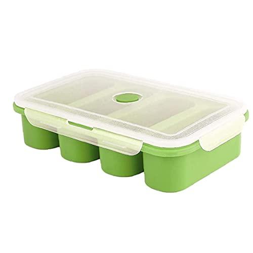 Hainice Stampi del Contenitore del congelamento del Cibo del cubo della zuppa di Silicone con Il Coperchio 4 cubi per pasto Salsa Verde