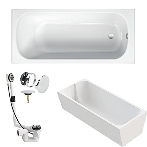 BETTE Badewanne BetteForm Stahl weiß KOMPLETT SET 170x75cm + Wannenträger Styropor + Viega Ablaufgarnitur Multiplex