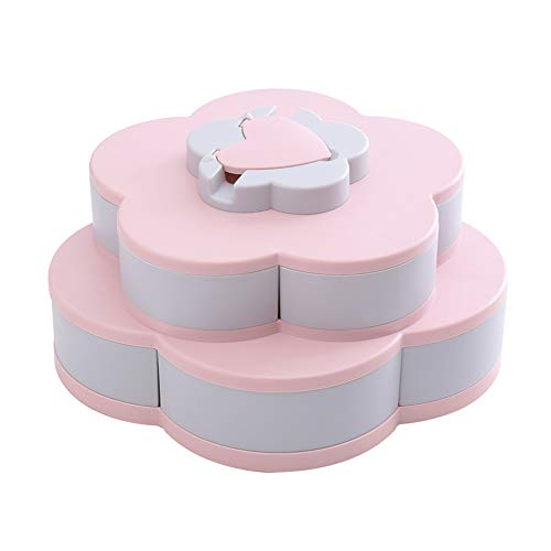 xnbnsj - Bandeja dispensadora de aperitivos con soporte para teléfono, forma de pétalo, giratoria, frutos secos y caramelos rosa