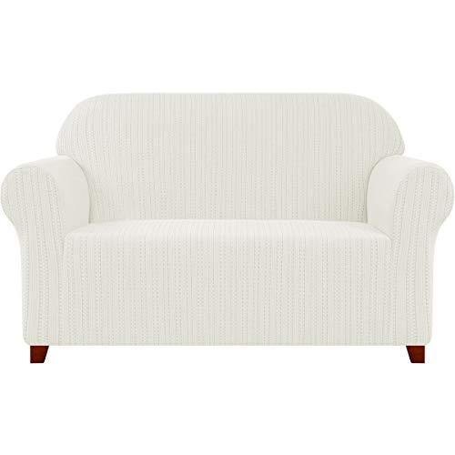 subrtex Sofabezug Stretch Gestreifter Jacquard Sofahusse Couchbezug Sesselbezug Elastischer Blumenmuster Antirutsch Stretchhusse Weich Stoff (2 Sitzer, Creme)