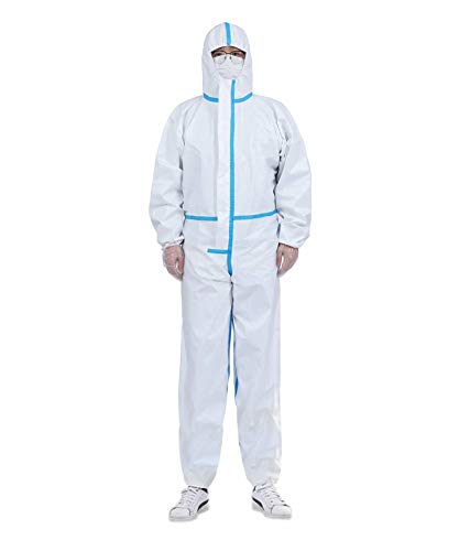 Non-Porous Anti-Dust Ventilation clothing Ankles and Hood Medium Duobang Disposable Protective Coveralls with Elastic Wrists