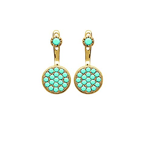 Tata Gisèle Lobe Earrings in 18 Carat Gold-Plated Round Dotted with Turquoise Stones - Free Velvet Bag