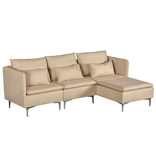 MELLCOM Convertible Sectional Sofa Couch, Modern Design Sectional Sofa with Modern Linen Fabric and Metal Feet for Living Room, Beige, A+B+C