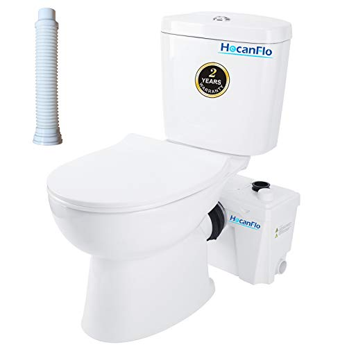 Upflush Macerating Toilet System with 500 Watt Macerator Pump and Extension Pipe Between Toilet and Pump, Silent Seat Cover Round Bowl, Nano Glaze Finish (FLOWC500-2)