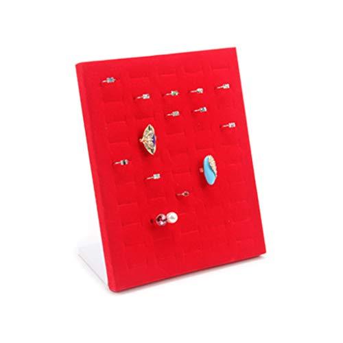 Koobysix En forma de L 50 posiciones Anillo Placa Franela Pendientes Pin Stand Vertical Display Item