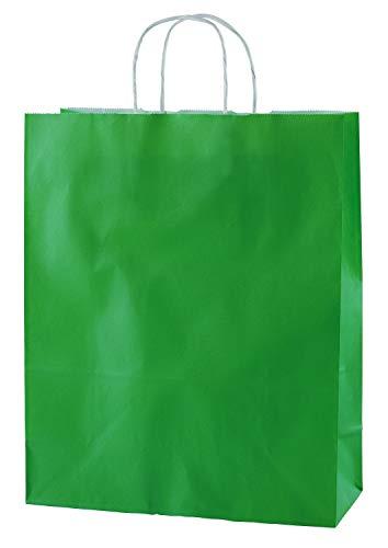 Thepaperbagstore 25 Papiertragetaschen, Recycelbar Und Wiederverwendbar, Mit Gedrehten Griffen - Wählen Sie Ihre Größe und Farbe (Mittel: 250 x 110 x 310mm, Grün)
