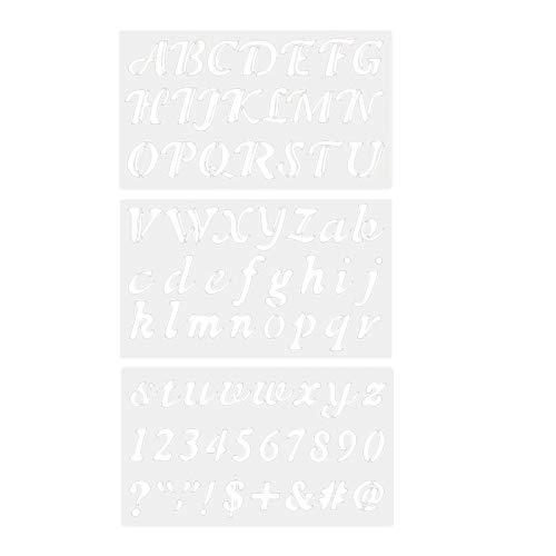 SDENSHI 3 plantillas de plástico con letras y números del abecedario para fabricación de tarjetas artesanales.