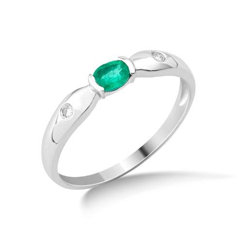 Miore Damen-Ring Smaragd und 2 Brillanten 9 Karat 375 Weißgold Gr. 54 (17.2) MG9126R4