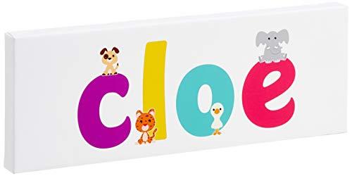 Little Helper LHV-CHLOE-1542-15IT Toile pour Nursery avec panneau avant, motif personnalisable avec nom de garçon Chloe, multicolore, 15 x 42 x 4 cm