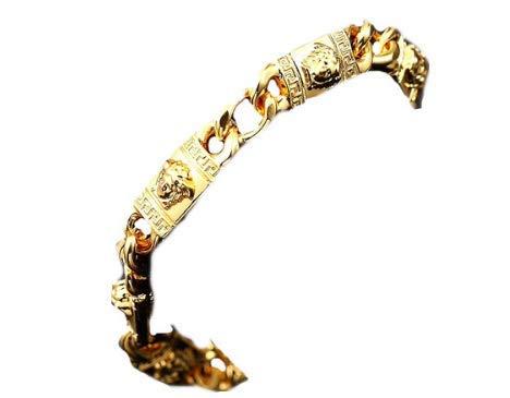 Medusa Kopf Armband Massive Kette Bracelet schlicht Unisex Schmuck Herren Damen Gold