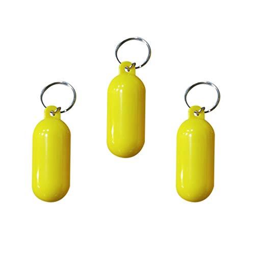 Wakauto Schwimmend Schlüsselanhänger mit Schlüsselring Fender Schlüsselbund Kanufahren Marine Sailing Bootfahren Rafting Magic Floating Keychain für Bootsport Wassersport (Gelb)