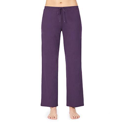 Nautica Women's Sleep Pants, 100% Cotton Jersey, Eggplant, M