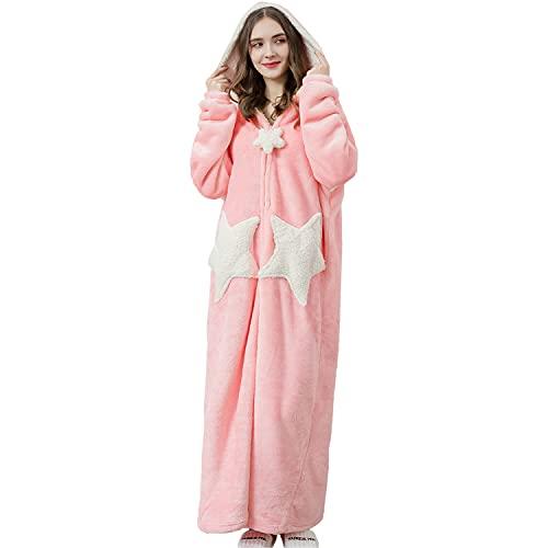 Sacebeleu Bademantel Damen Flanell Rosa Lang Morgenmantel mit Kapuze Reißverschluss Stern Nachtwäsche Flanell Paar Set Hausmantel Herren Weich Hausmantel Pulloverdecke Pyjama Unisex Pink XL